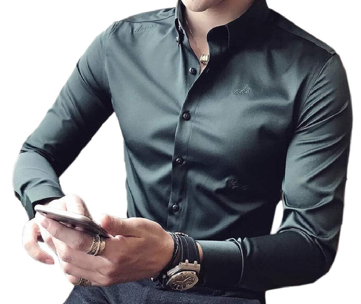 HTOOHTOOH Men Long-Sleeved Non Iron Comfort Premium Solid Button Down Dress Shirt