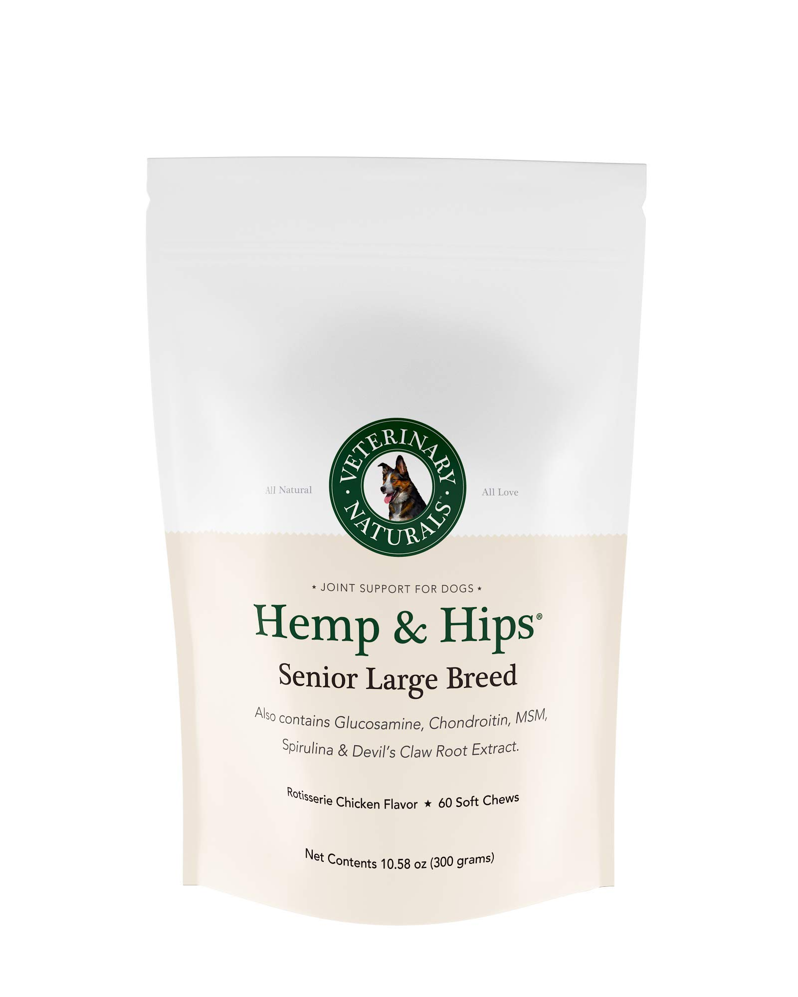 Veterinary Naturals Hemp & Hips Dog Joint Supplement - Glucosamine and Hemp Oil for Dogs - 'Senior Large Breed' Dog Arthritis Supplement - 60 Soft Chew Senior Dog Vitamins, Rotisserie Chicken Flavor by Veterinary Naturals