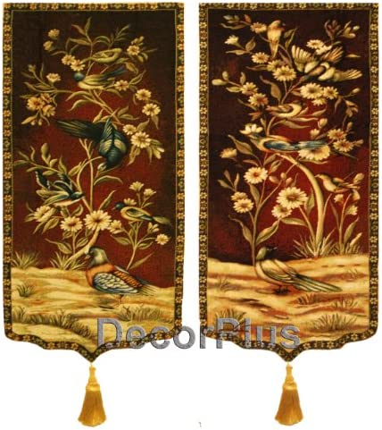 A Pair of Jacquard Woven Wall Hanging Tapestry Flowers Bird for Decor