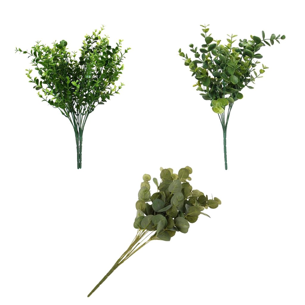 MonkeyJack 3 Pieces Artificial Plastic 7 Branches Small Eucalyptus Leaves Home Living Room Tabletop Decor