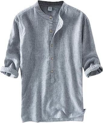 Camisa Lino Hombre Suelta Transpirable Blusas De Manga 3/4 Camisas Sin Cuello Color Sólido