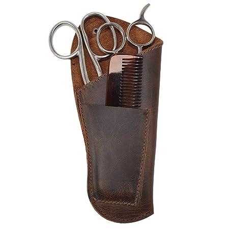 Amazon.com: Tijeras de barbero de piel rústica, peines ...