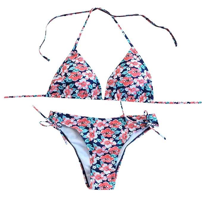 42f5f0a40a Amazon.com  Lywey Women Brazilian Bikini Set Swimwear Halter Vest Tops Swimsuit  Beach Suit Swimwear Monokini Pink  Clothing