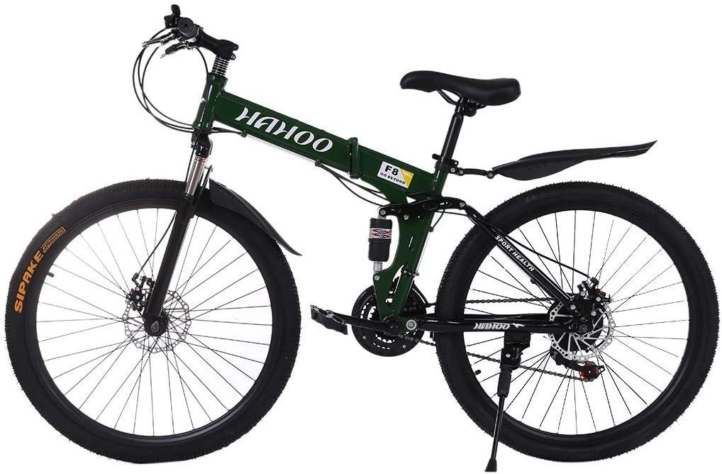 "MTFITNESS 26/"" Full Suspension Mountain Bike 21 Speed Folding Non-Slip Bicycle Men or Women Green"
