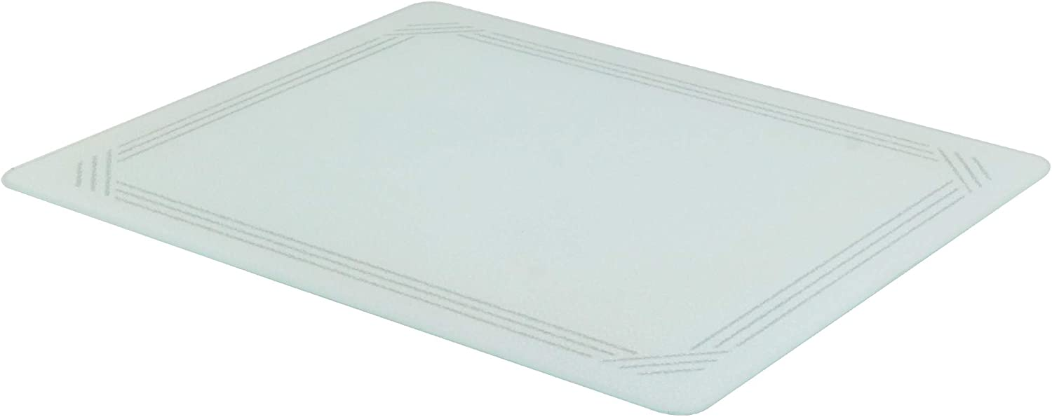 Vance 20 x 16 inch White with Gray Border Surface Saver Tempered Glass Cutting Board   Best Kitchen Chopping Board for Food Prep   BPA-Free   Non-Porous