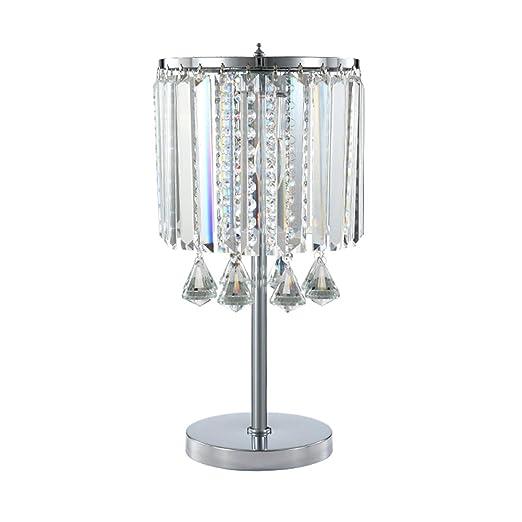 Hsyile Lighting Ku300191 Modern Elegance Crystal Chandelier For Bedroom Nightstand Table Lamp Finish Chrome 2 Light