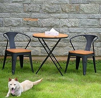 CRYSQD   Stühle, Tische, Holz Outdoor Klappbarer Tisch Und Stuhl  Kombination Garten Balkon,