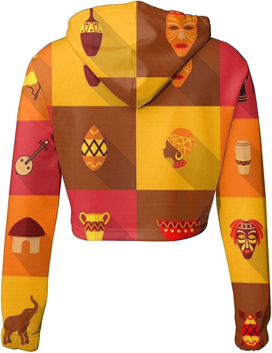 Africa Icons Set Womens Long Sleeve Letter Print Casual Sweatshirt Crop Top Hoodies