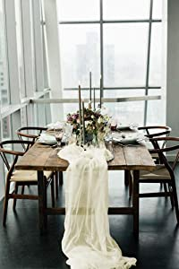 Table Runner Ivory Chiffon Design of 27 x 120 Inches Soft Runner for Thanks Giving Christmas Other Holiday Season