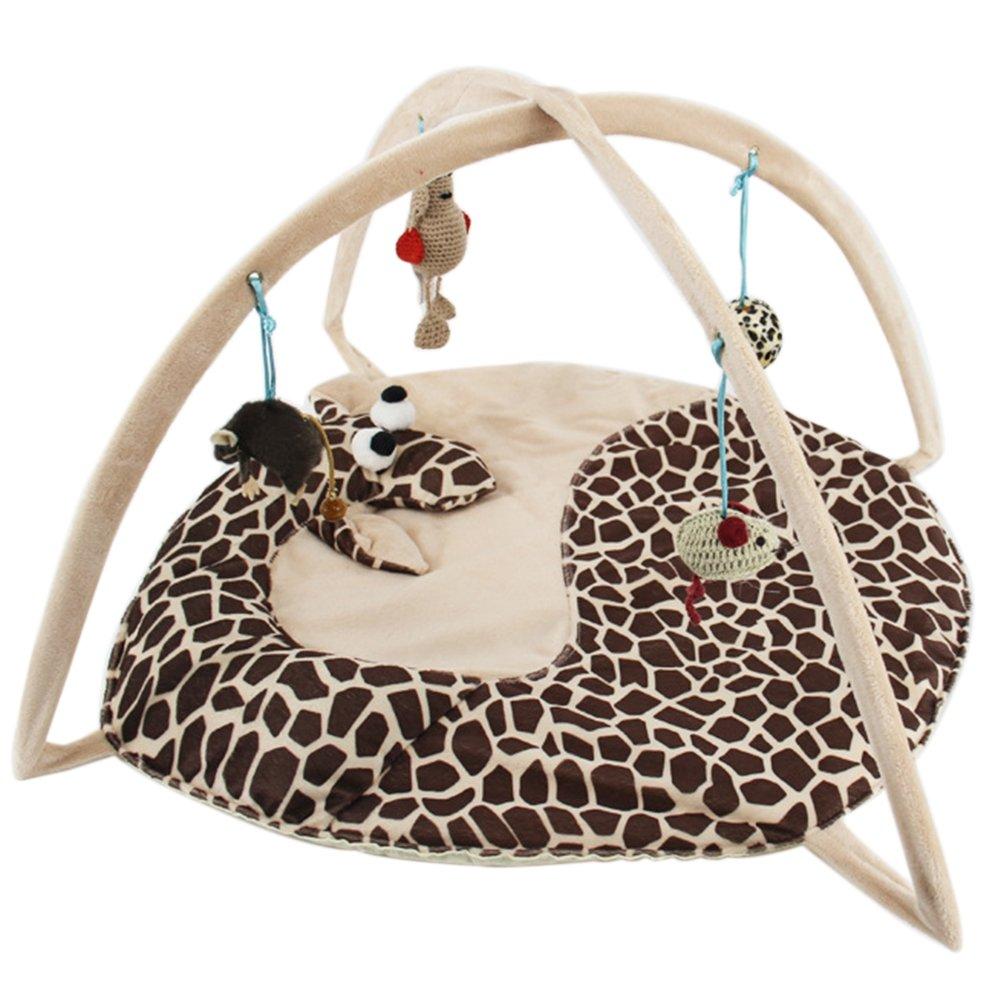 KAYI Pet Folding Hammock Tent Multi-functional Puzzle Cat Toy Game Pad Nest Giraffe