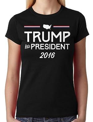 Trump For President 2016 Junior Ladies T-shirt (Black, X-Large)