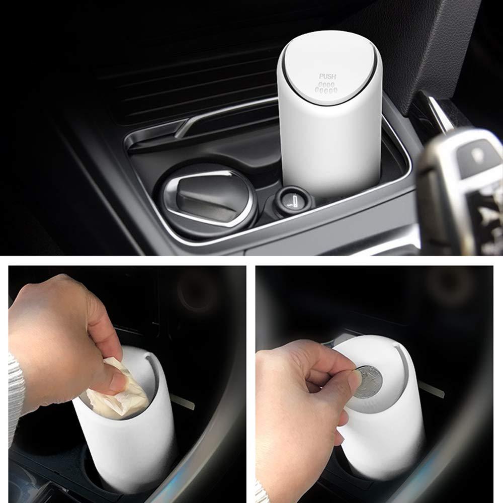 bqmqolove Auto Car Trash Can Impermeable Mini Cubo de Basura basurero para Almacenamiento de Basura de Auto White