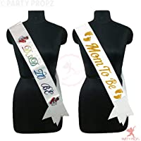 PARTY PROPZ DAD to BE SASH & MOM to BE SASH / Baby Shower Party Supplies/Baby Shower Party Decoration