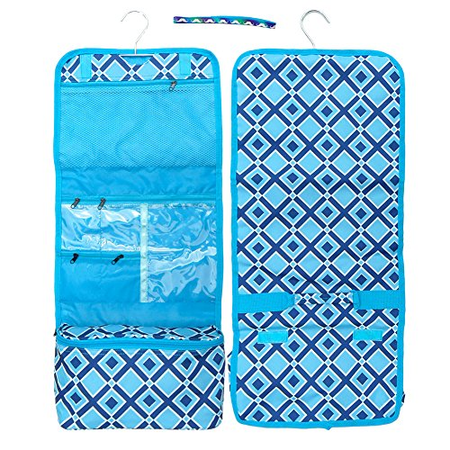 Unique Turquoise Navy Blue Diamond Designer Large Hanging Black Friday Deal Toiletries Kit Travel Bag Pouch Perfect Last Minute Weird Supplies Shower Caddy Gift Idea for Son Boy Him Man Unisex