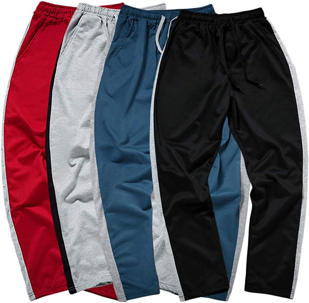 Fitfulvan Mens Large Size Cropped Pants Outdoor Fashion Patchwork Leisure Loose Sport Hallen Ankle-Length Trousers