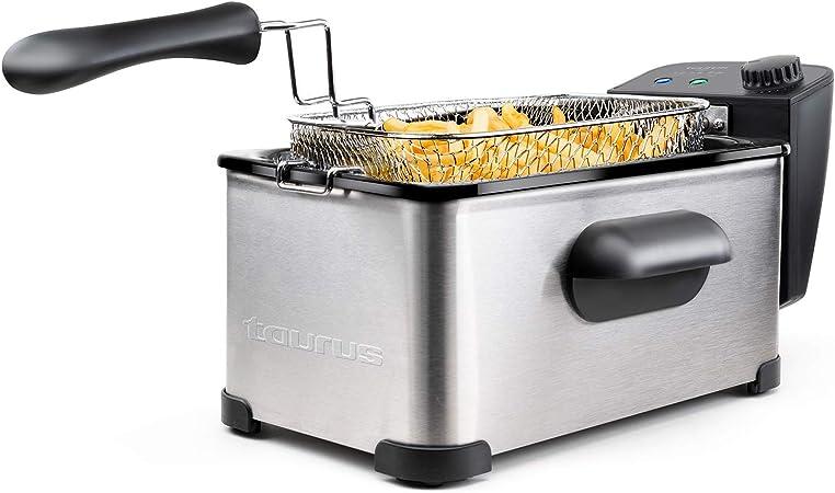 Taurus 973967000 - Freidora de aceite Fry3, 3 L, 1 kg de patatas, 2000 W, temperatura de 150 a 190 grados Celsius, aceite limpio más tiempo, ...