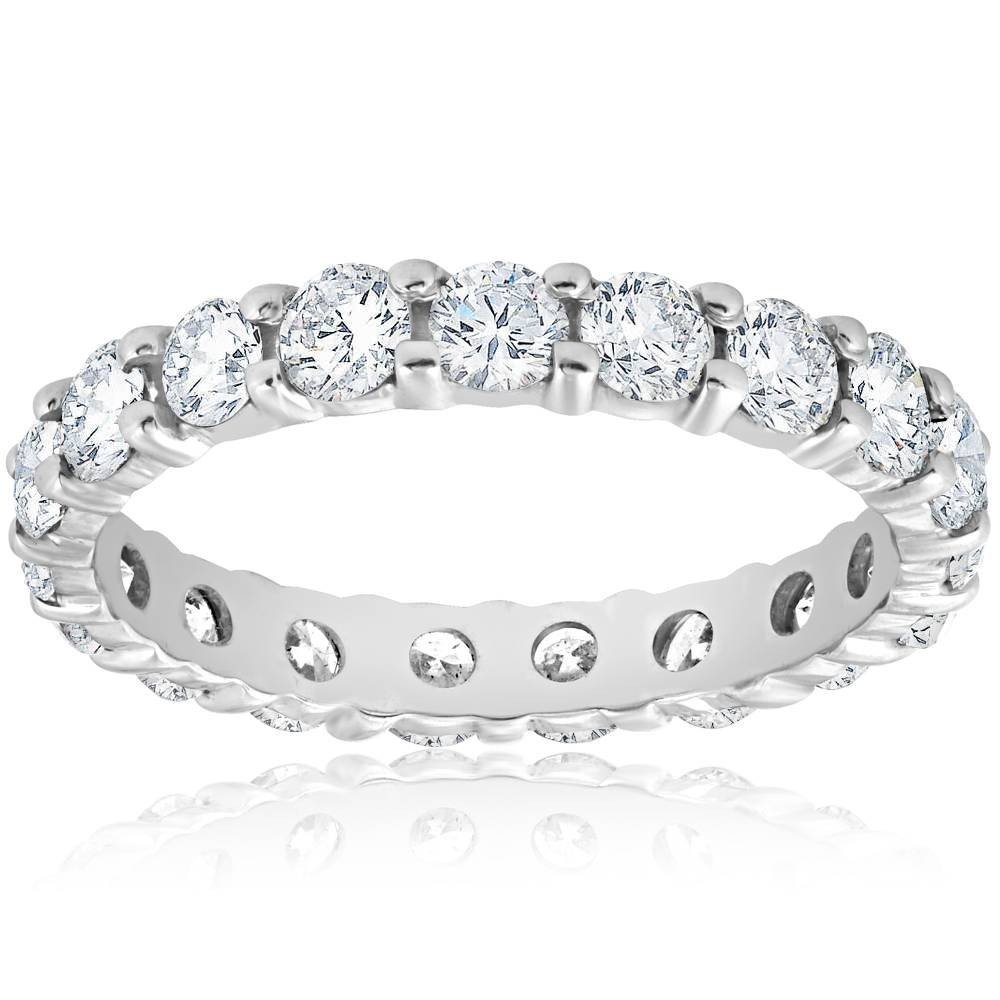 Diamond Eternity Ring 2 Carat Womens Stackable Wedding Band 14K White Gold - Size 6.5