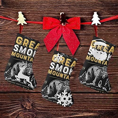 クリスマスの日の靴下 (ソックス3個)クリスマスデコレーションソックス Reat Smoky Mountains 国立公園 クリスマス、ハロウィン 家庭用、ショッピングモール用、お祝いの雰囲気を加える 人気を高める、販売、プロモーション、年次式