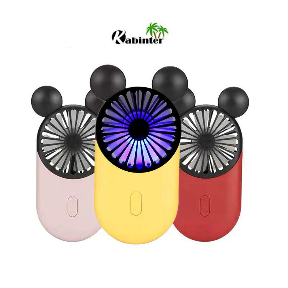 Kbinter Cute Personal Mini Fan, Handheld & Portable USB Rechargeable Fan Beautiful LED Light, 3 Adjustable Speeds, Portable Holder, for Indoor Outdoor Activities, Cute Mouse 3 Pack (Red+Pink+Yellow)