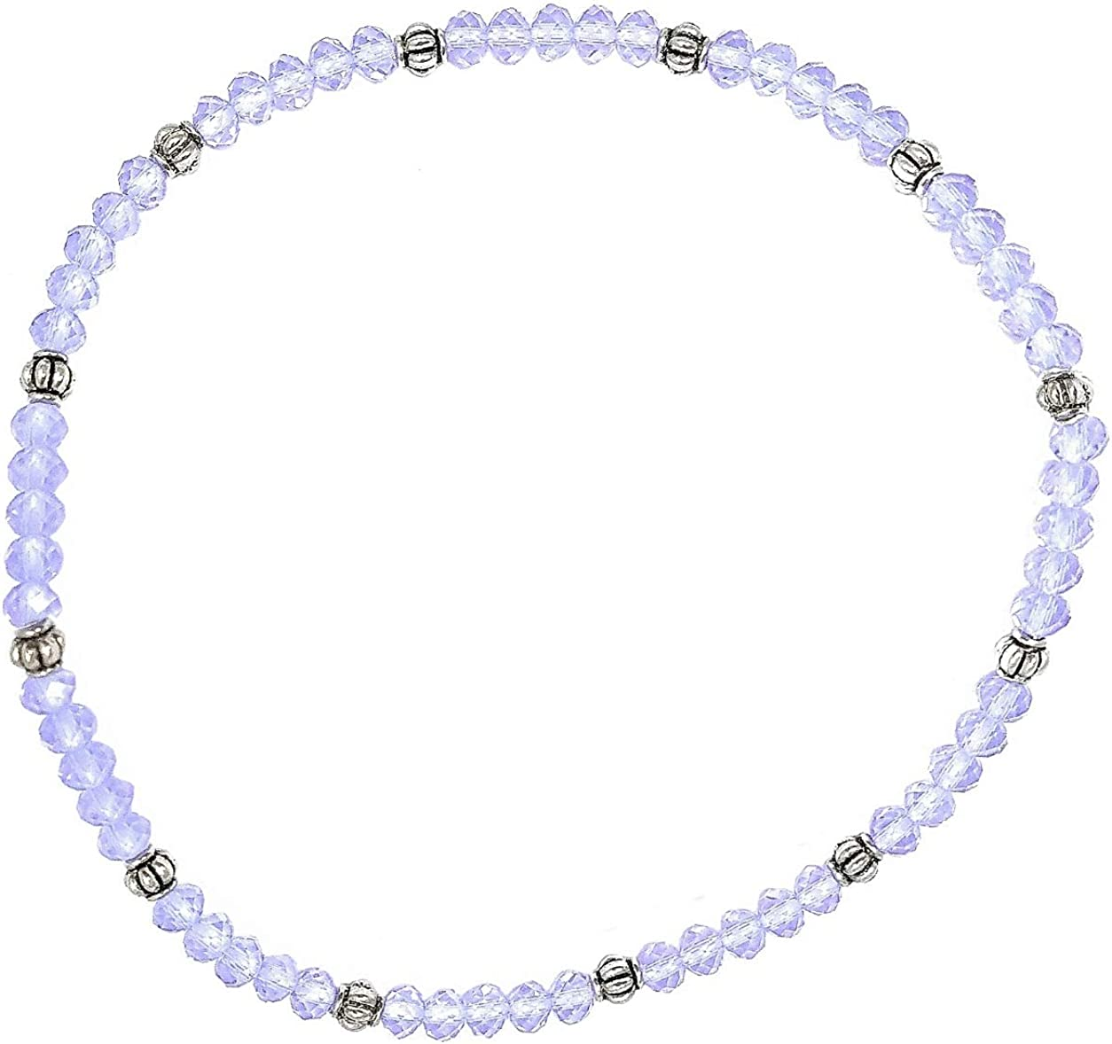 Hand made Lilac White Silver glass seed bead anklet ankle bracelet beach boho