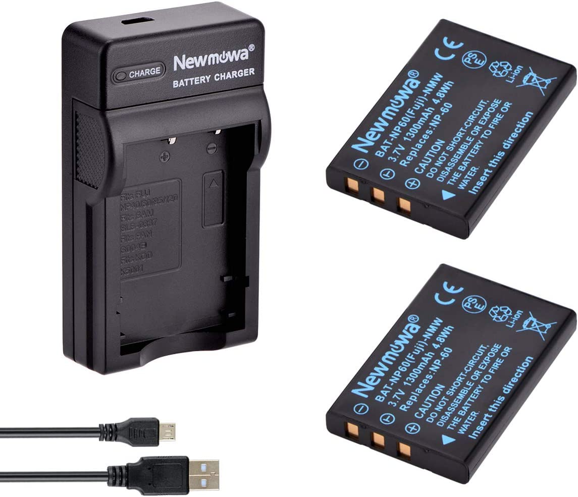Newmowa NP-60 Bater/ía y Kit Cargador Micro USB port/átil para Fujifilm NP-60 FinePix 50i 601 F401 F410 F601 M603 2-Pack