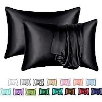 MR&HM Satin Pillowcase for Hair and Skin, Silk Satin Pillowcase 2 Pack, Standard Size Pillow Cases Set of 2, Silky…