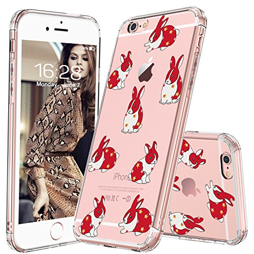 MOSNOVO iPhone 6S Plus Case/iPhone 6 Plus Case, Fashion Rabbit Bunny Printed Clear Design Hard Back Case with TPU Bumper Protective Case Cover for Apple iPhone 6 Plus/iPhone 6S Plus