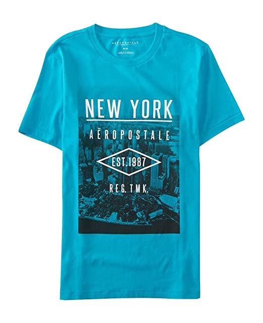 Aeropostale playera Aero Nueva York Logo Graphic T Shirt S Aqua Bliss 6e5e3ec22aeea