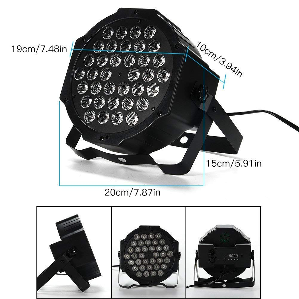 LUNSY DJ Par Lights, 36LEDs Stage Lighting Par Can Controlled by Remoter and DMX Control - 2 Pack by LUNSY (Image #2)