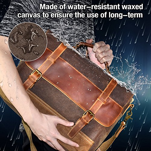 NEWHEY Mens Messenger Bag Waterproof Canvas Leather Computer Laptop Bag 15.6 Inch Briefcase Case Vintage Retro Waxed…