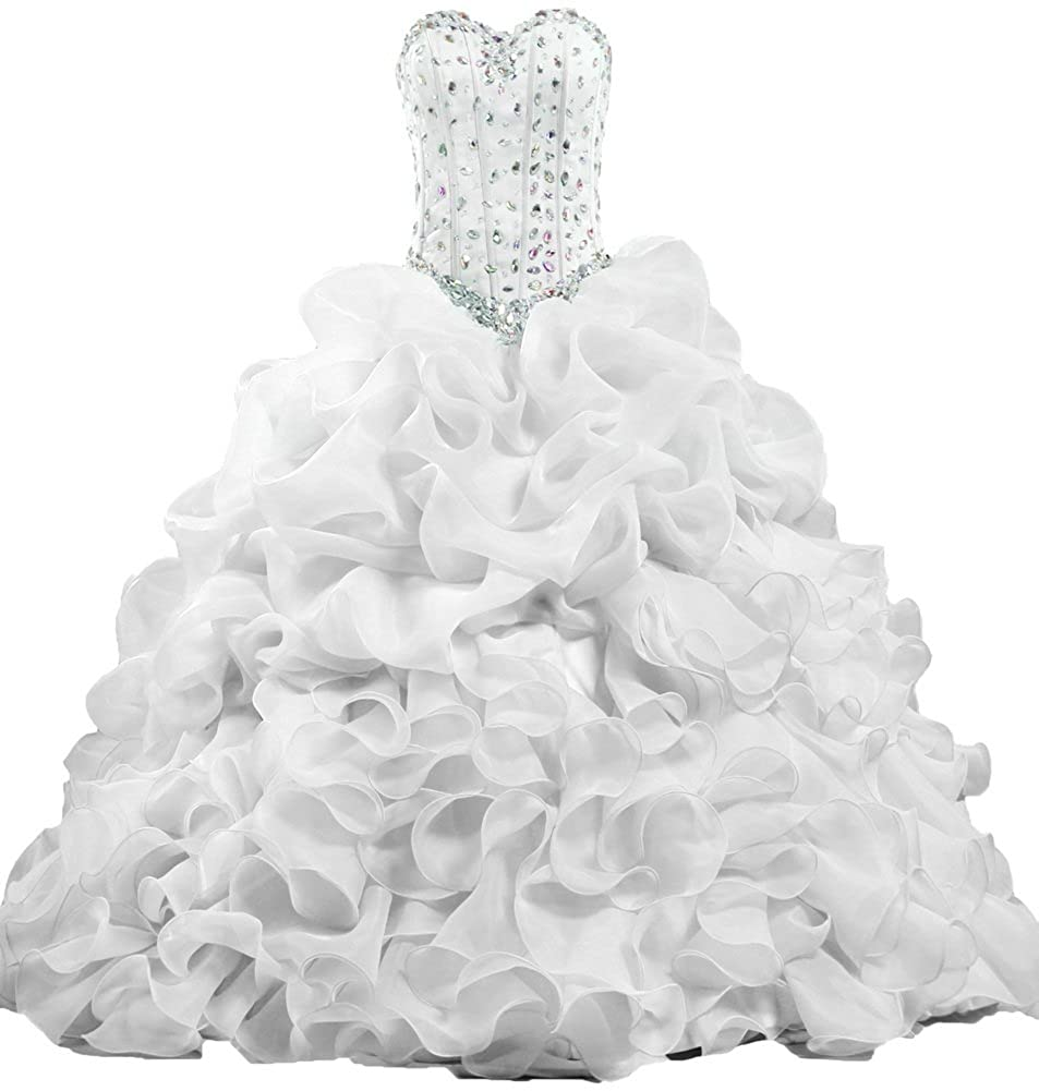 White ANTS Women's Formal Crystal Ruffle Quinceanera Party Dress Long