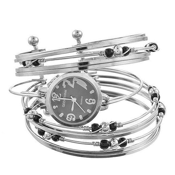 LD Mujer Reloj De Pulsera Reloj de Cuarzo Reloj analógico Reloj Collar de Pulsera Perlas bisutería