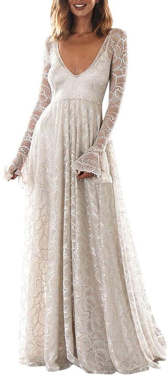Transwen Damen Abendkleider Mesh Perspektive Brautkjungfernkleid