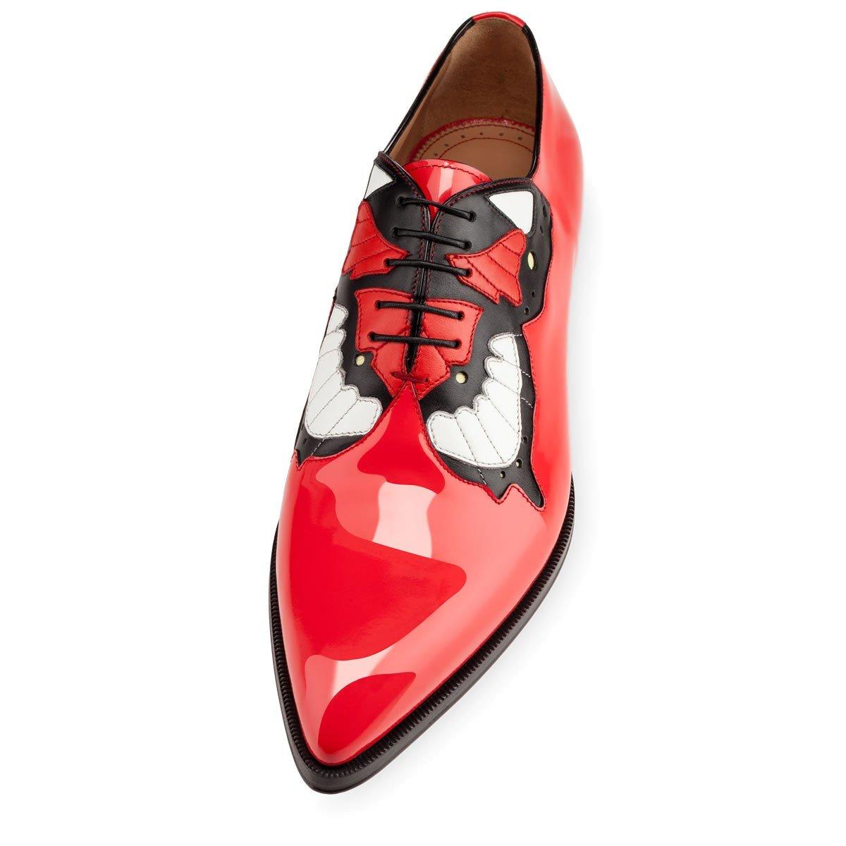 6e8381b640a FootGift chaussure homme Rouge en cuir décorée avec un motif papillon avec  un bout pointu EU50  Amazon.fr  Chaussures et Sacs