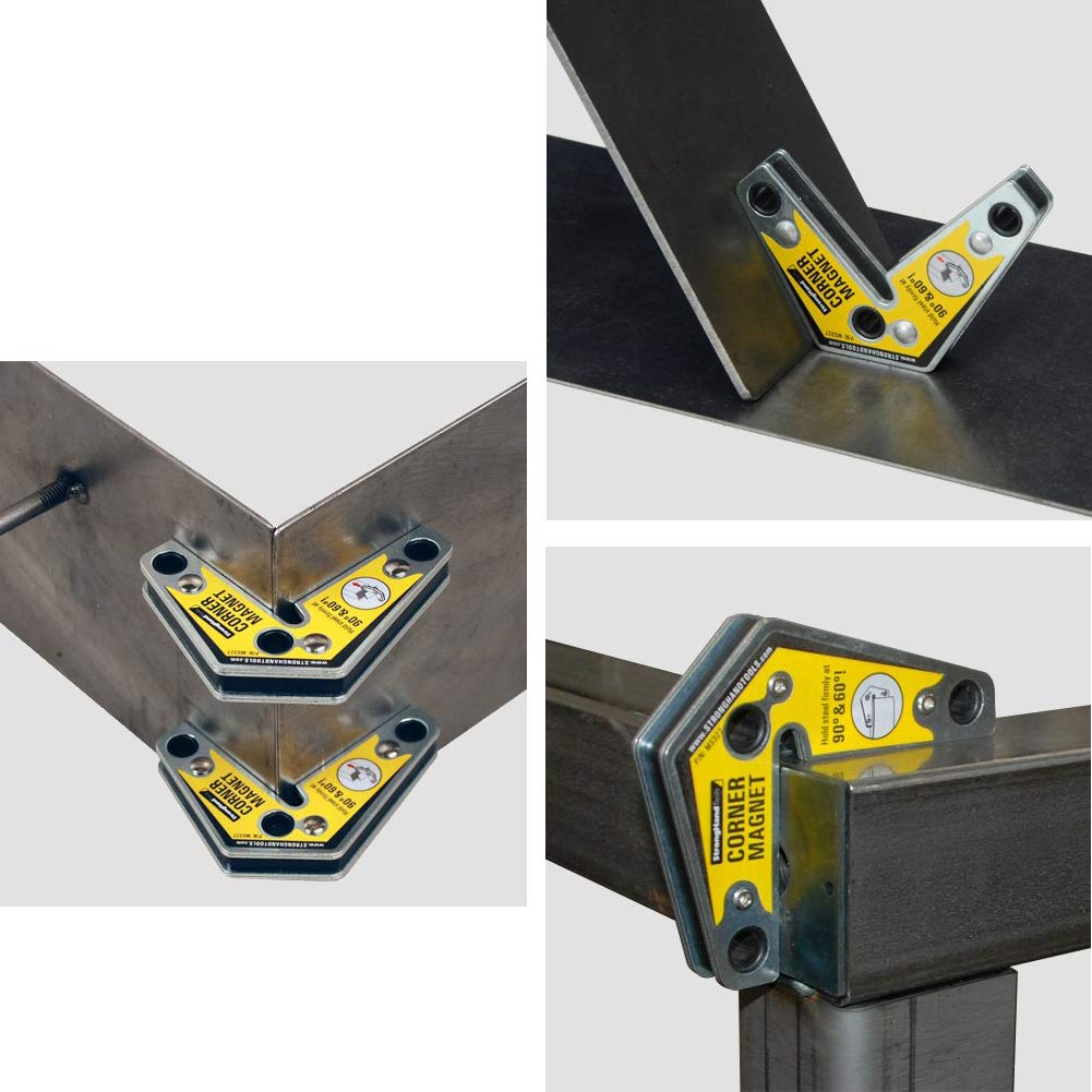2pcs Double-Head Welding positioner Holder, Magnet Welding Holder 60, 90 Degree Welding Tool, Magnetic Welding Fixture Double Angle Angle Welding Tool for Assembly, Welding and Pipe Installation wuudi