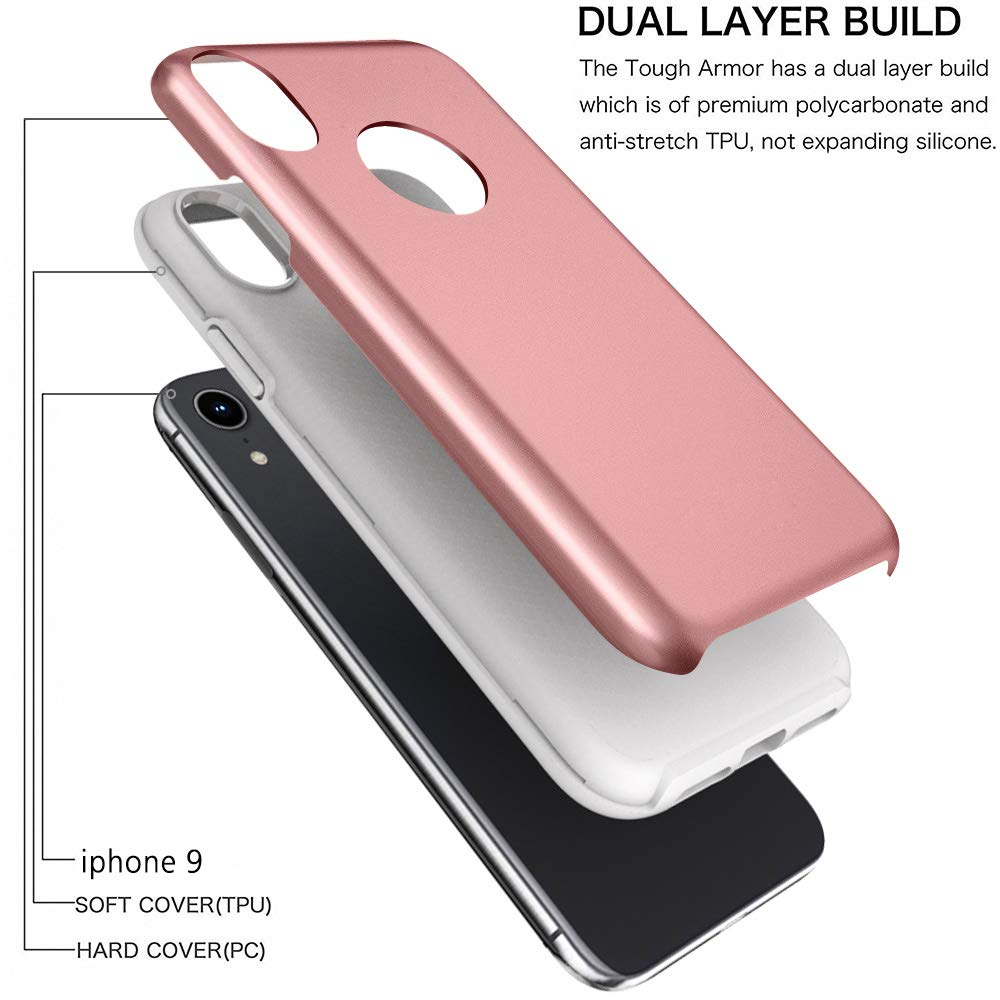 iPhone 2018 Case, 6.1 Inch, Androgate [Pearl Series] Hybrid Matte Protective Back Cover Bumper Case for Apple iPhone 2018 6.1'', Pink Gold