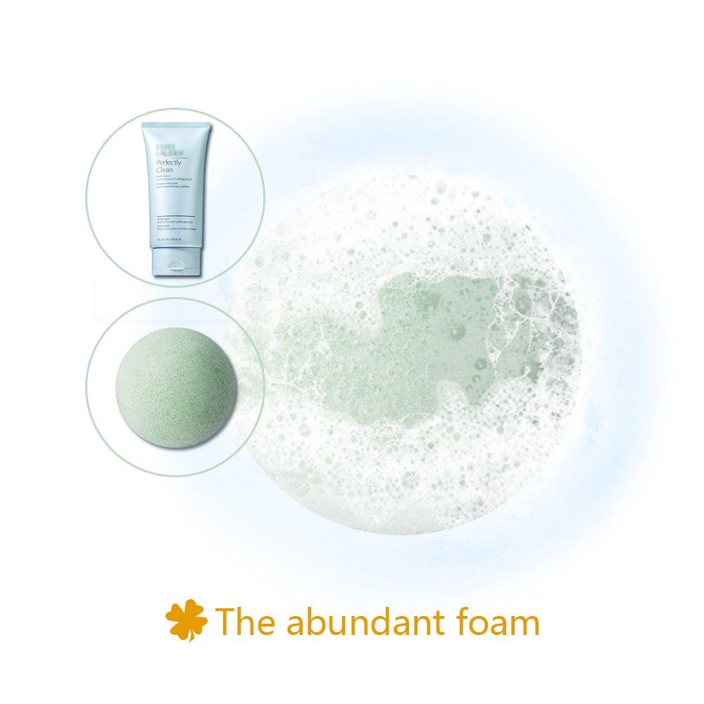 Éponge konjac visage, 100% naturelle (Lot de 3) pour l\'exfoliation naturelle et le nettoyage profond des pores - Charbon de bambou/Thé vert/Blanc pur Forme hémisphère pour tous les types de peau