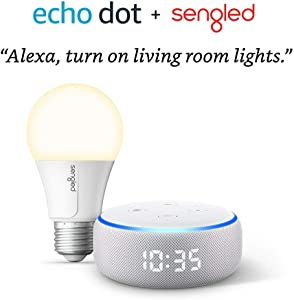 Echo Dot with clock (Sandstone) Bundle with Sengled Wi-Fi Smart Bulb