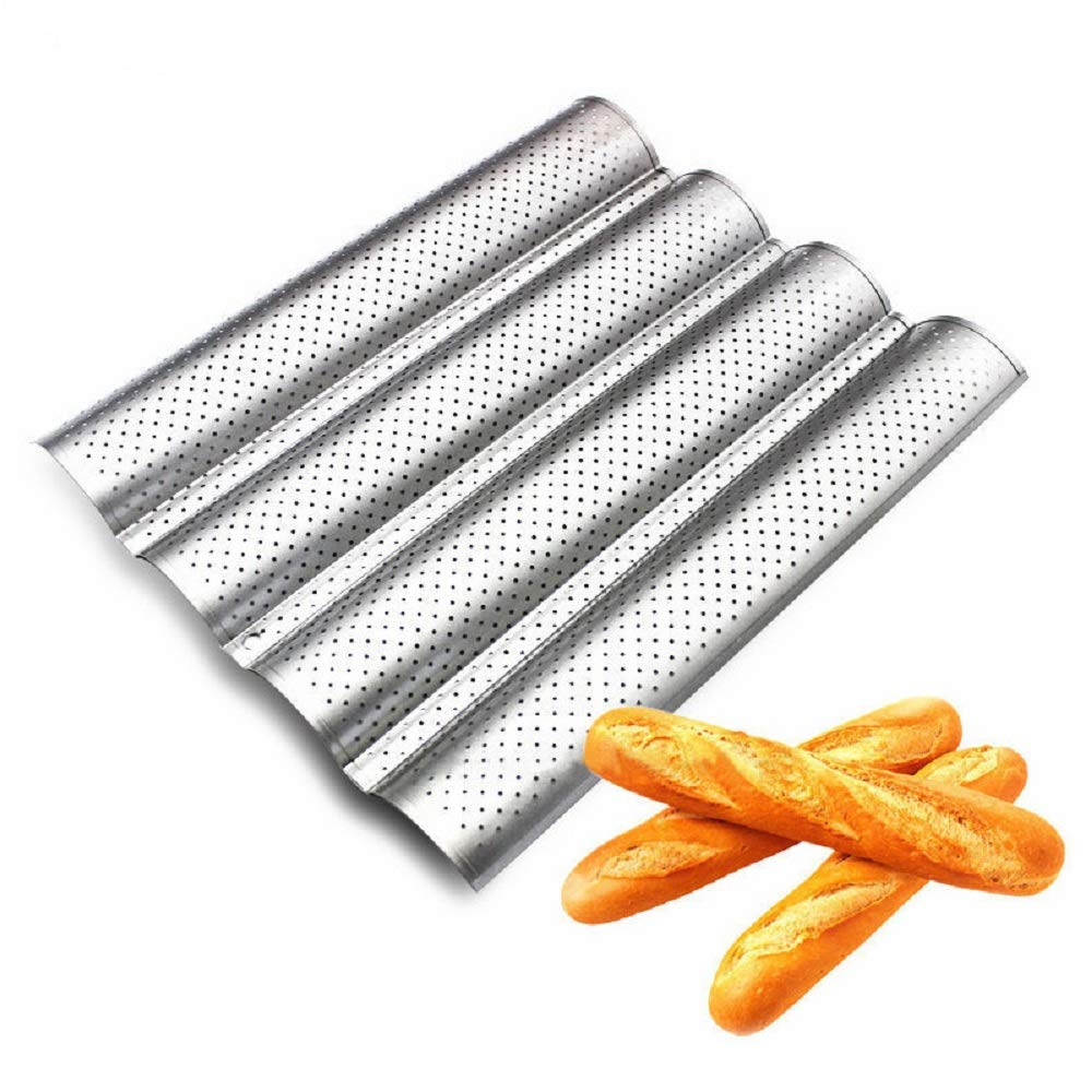 Amzchoice Silicone Non Stick Baking Liners Mat Bread Mold Bread Mould (Black, 4 Loaf)