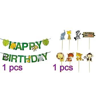 Amosfun Animales temáticos Feliz cumpleaños Bunting Banner ...