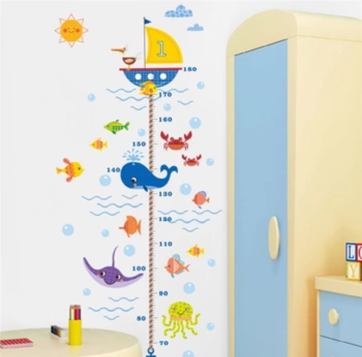 Seabed Fish Shark Bubble Height Measure Wall Sticker For Kids Rooms Bathroom Bedroom Home Decor Wall Decals Poster