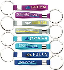 (12-Pack) Dream, Courage, Strength, Focus - Motivational Keychains with Inspirational Quotes - Wholesale Bulk Keychains for Gym Office Gifts Ideas - Unisex for Men Women Athletes Coworkers Colleagues