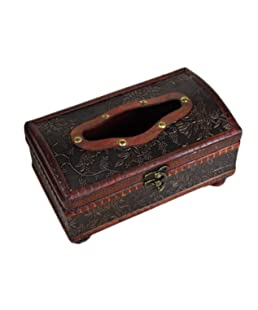 Dooret 21 * 12 * 11 cm de Madera Antiguo Hecho a Mano Antiguo del Tejido extraíble Box Hecho a Mano Elegante de la Caja del Tejido de la antigüedad