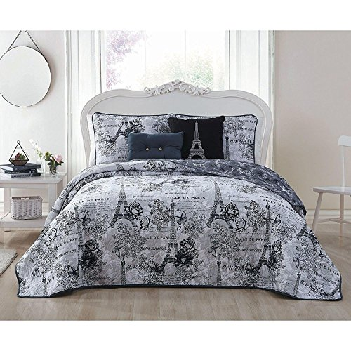 5pc Girls Black White King Quilt Set, Paris Themed Bedding Boho Bohemian Rich Eiffel Tower Chic Elegant France French Modern Cute Adorable Butterfly Rose Floral, Microfiber by Unknown