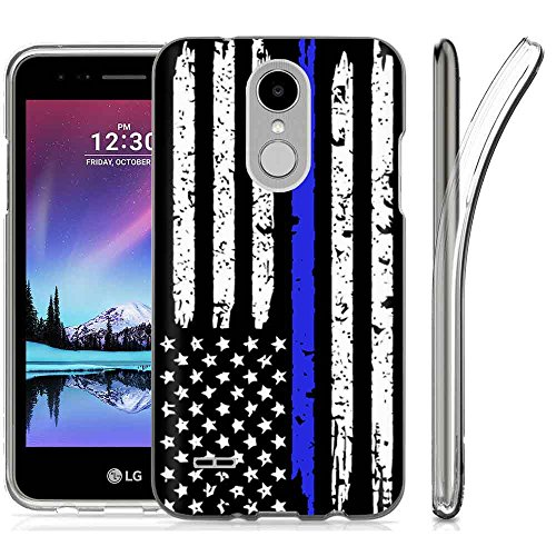 [NakedShield] LG Fortune 2/LG Risio 3 [Clear] Ultra Slim TPU Phone Cover Case [US Flag Thin Blue Line (2 Print Lines)