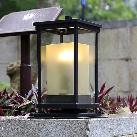 IMEFF Lámpara Pilar Europea, Luz Decorativa Impermeable para El Jardín, Luz De Jardín, para Patio, Patio, Cubierta De Aluminio, Vidrio Pluss, Base E27,Black: Amazon.es: Deportes y aire libre