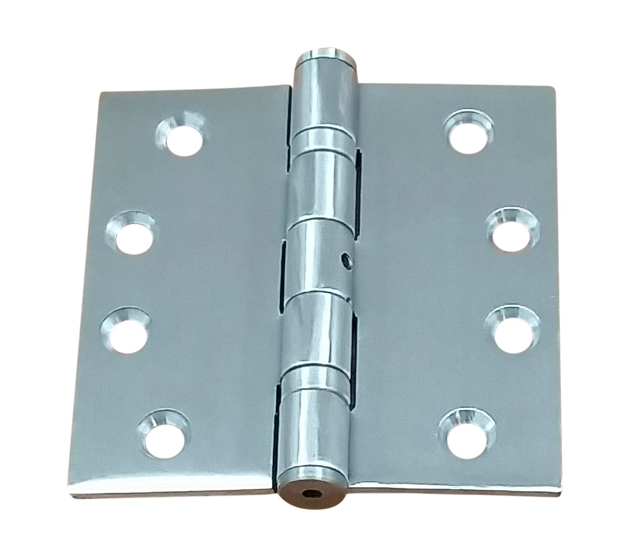 Commercial Grade Ball Bearing Door Hinge 4 Inch Square Full Mortise Stainless Steel - 2 Pack- Highly Rust Resistant