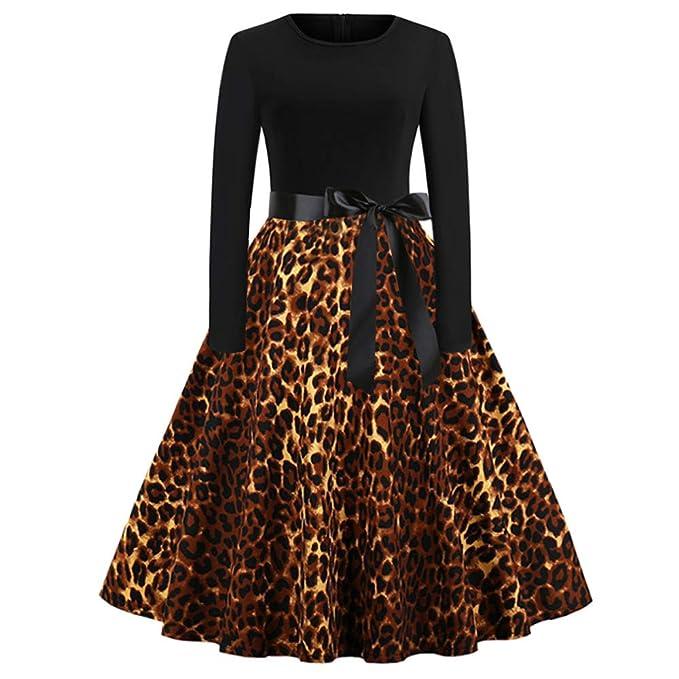e69774126 Corsion Women Leopard Print Dress Ladies O-Neck Long Sleeve Audrey Hepburn  Skirt Party Swing