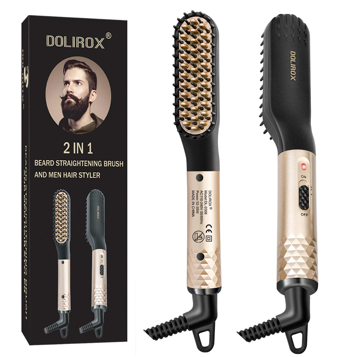 Beard Straightener for men, Multifunctional Hair Styler Electric Hot Comb and Beard Straightening Brush Hair Straightening Comb with Dual Voltage 110-240V Great for Travel & Mens Stocking Stuffers by DOLIROX