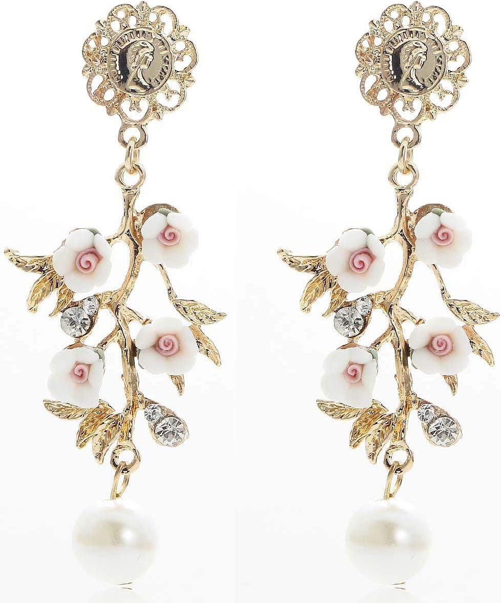 Erin Pendientes Colgantes De Diamantes De Imitación De Cristal Blanco Perla Rosa Moda Mujer Pendientes De Piedras Preciosas De Oro Antiguo Modelos Femeninos E1102